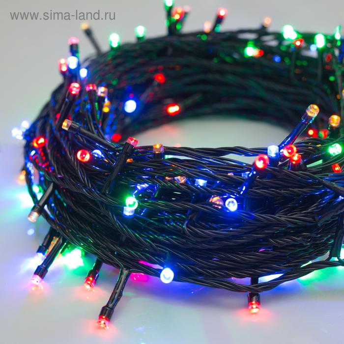"""Гирлянда \""""Нить\"""" 20 м , IP20, тёмная нить, 200 LED, свечение мульти, 8 режимов, 220 В"""