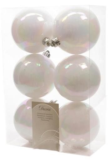 Набор пластиковых шаров 8см 6шт белый перламутровый 9022054