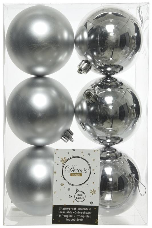 Набор пластиковых шаров mix 8см 6шт серебро 9022051