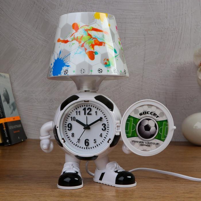 """Часы-светильник \""""Футбол\"""", с будильником, 3 AA. от сети. дискретный ход"""