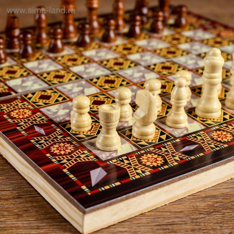 """Настольная игра 3 в 1 \""""Узоры\"""": нарды, шашки, шахматы, поле 29х29 см, дерево"""