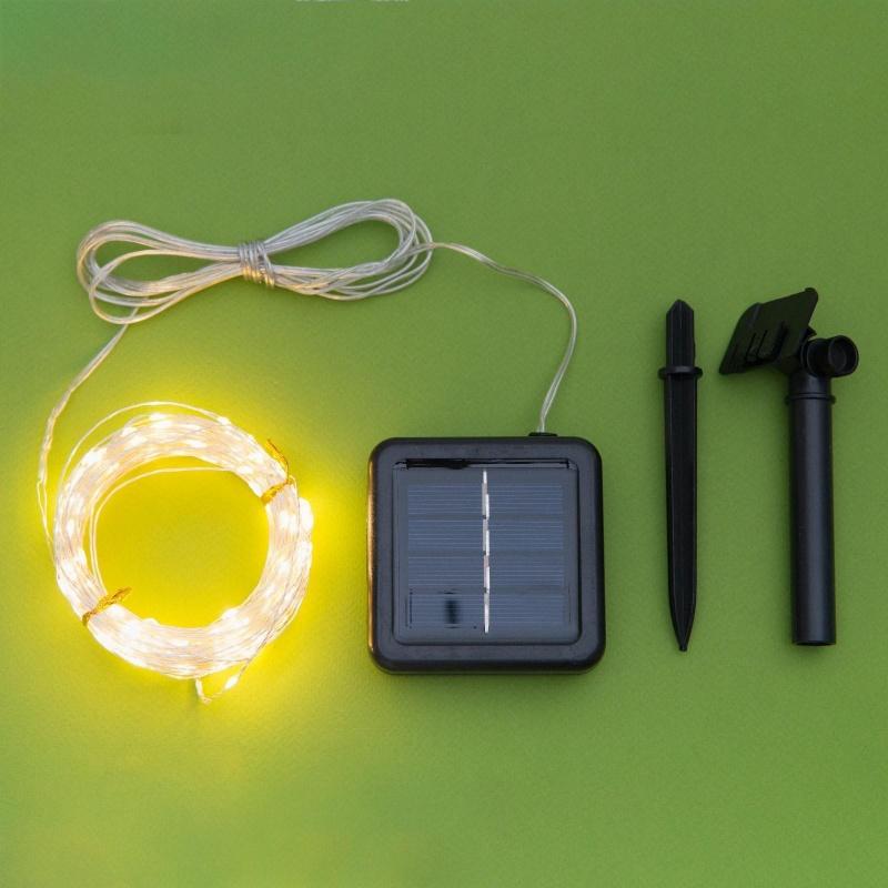"""Гирлянда \""""Нить\"""" 20 м роса, серебристая нить, 200 LED, свечение тёплое белое, 2 режима, солнечная батарея"""