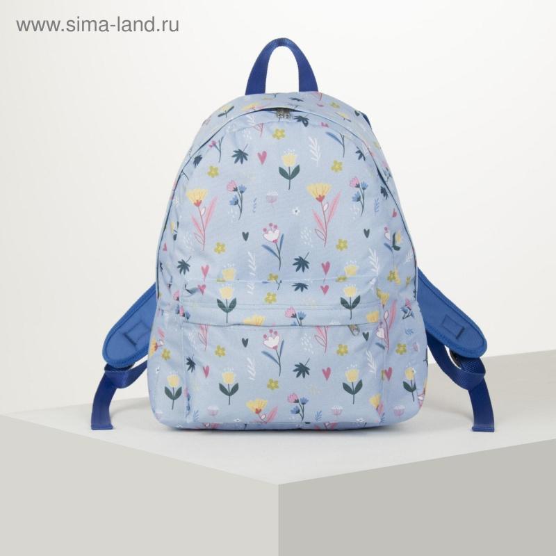 Рюкзак «Ботаника»,33х13х37 см, отд на молнии, с карманом, голубой