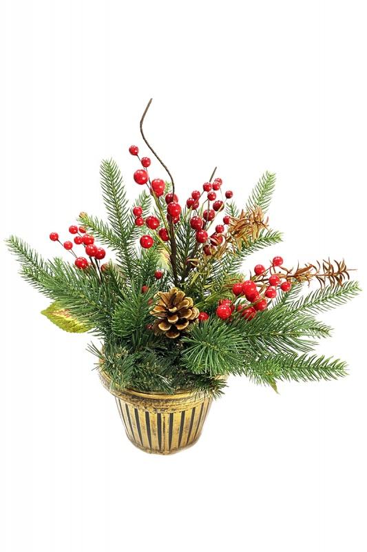 006D Композиция Рождественская pe (100% литье) с ягодами шишкой и цветами