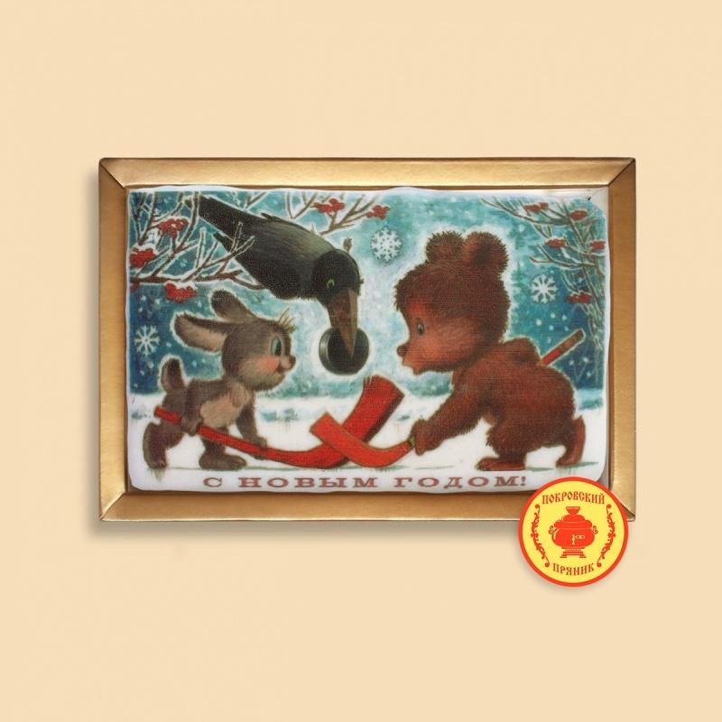 """Зайка с мишкой и ворона \""""С Новым годом\"""" (160 грамм)"""