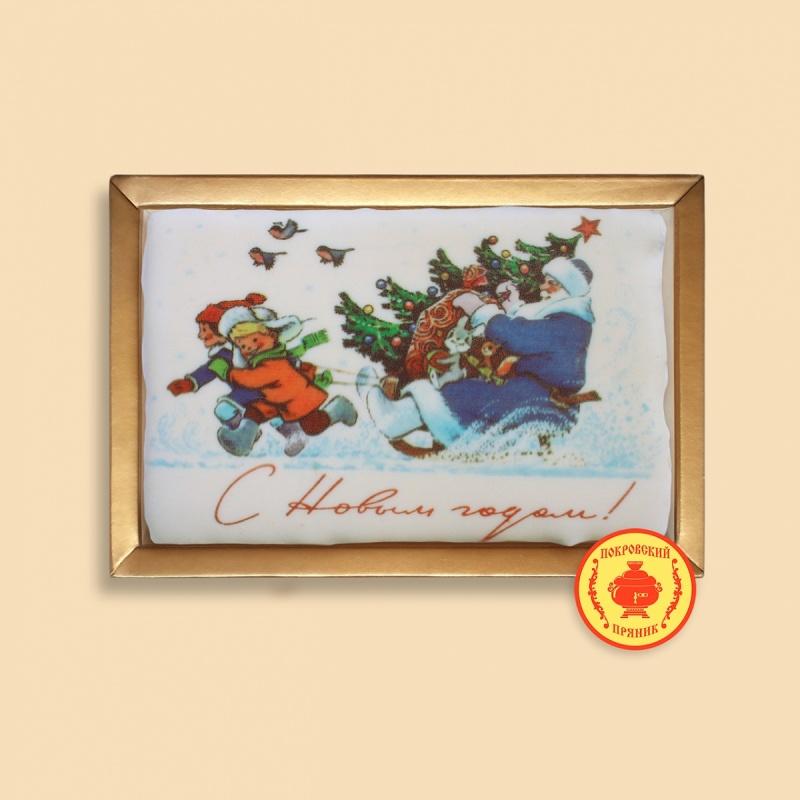 """Дед мороз с подарками и ёлкой на санях \""""С Новым годом\"""" (160 грамм)"""